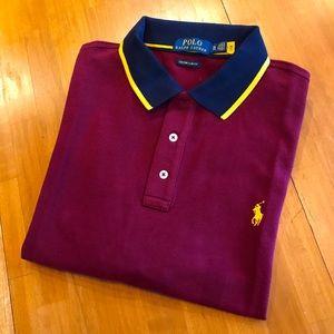 POLO RALPH LAUREN Gold-Tipped Burgundy Polo Shirt